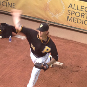 A.J. Burnett warms up